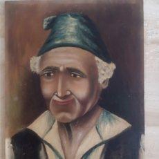 Arte: PINTURA SOBRE TABLA. VIEJO CAMPESINO. FIRMADO D. MIÑANO. 1910. 30 X 21 CM. Lote 187573761