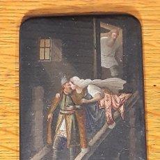 Arte: PLACA PAPIER MACHÉ. LA DESPEDIDA... RUSIA. SIGLO XVIII-XIX.. Lote 187611315