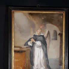Arte: SAN VICENTE FERRER. PINTURA BAJO CRISTAL. ITALIA. SIGLO XVIII.. Lote 187612833