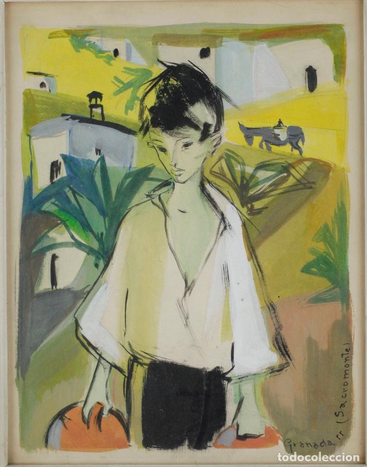 Arte: Niño, Sacromonte, Granada, 1955, gouache sobre papel, artista por identificar, con dedicatoria. - Foto 2 - 187783720