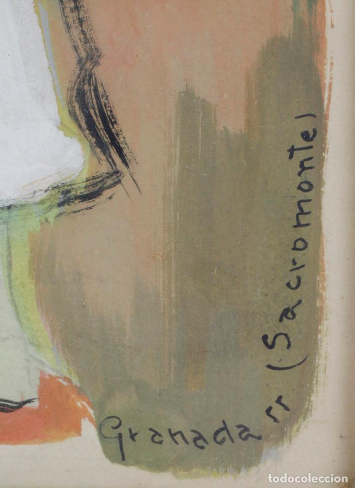 Arte: Niño, Sacromonte, Granada, 1955, gouache sobre papel, artista por identificar, con dedicatoria. - Foto 3 - 187783720
