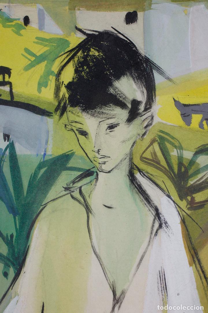 Arte: Niño, Sacromonte, Granada, 1955, gouache sobre papel, artista por identificar, con dedicatoria. - Foto 4 - 187783720