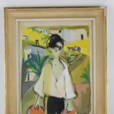 Arte: NIÑO, SACROMONTE, GRANADA, 1955, GOUACHE SOBRE PAPEL, ARTISTA POR IDENTIFICAR, CON DEDICATORIA.. Lote 187783720