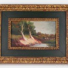Arte: PAISAJE, RÍO Y VACAS, PINTURA AL ÓLEO SOBRE MADERA, FIRMA ILEGIBLE, CON MARCO. 29X16,5CM. Lote 187821602