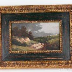 Arte: PAISAJE, CAMINO Y PERSONAJES, PINTURA AL ÓLEO SOBRE MADERA, FIRMA ILEGIBLE, CON MARCO. 29X16,5CM. Lote 187824323