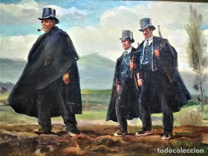 Arte: PINTURA ORIGINAL,PATRULLA MOSSOS DESQUADRA,AÑO1929,ANTIGUO UNIFORME,SOMBRERO,FUSIL.POLICIA CATALUÑA - Foto 2 - 188422132