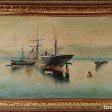 Arte: MARINA CON BARCOS. ÓLEO SOBRE LIENZO. FIRMADO G. MIGUEL. PRINCIPIOS SIGLO XX.. Lote 188450318