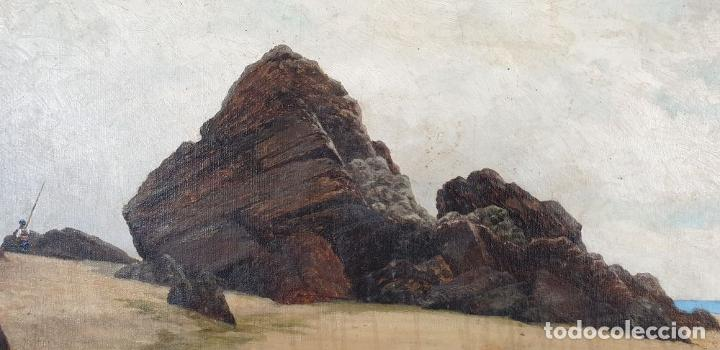 Arte: PAISAJE COSTERO. ÓLEO SOBRE LIENZO. FIRMADO R. MASÓ. PRINCIPIOS SIGLO XX. - Foto 6 - 188452792