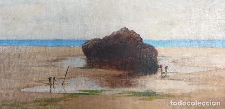 Arte: PAISAJE COSTERO. ÓLEO SOBRE LIENZO. FIRMADO R. MASÓ. PRINCIPIOS SIGLO XX. - Foto 11 - 188452792
