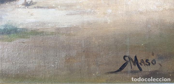 Arte: PAISAJE COSTERO. ÓLEO SOBRE LIENZO. FIRMADO R. MASÓ. PRINCIPIOS SIGLO XX. - Foto 15 - 188452792