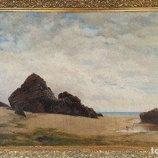 Arte: PAISAJE COSTERO. ÓLEO SOBRE LIENZO. FIRMADO R. MASÓ. PRINCIPIOS SIGLO XX. . Lote 188452792
