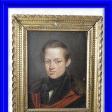 Arte: RETRATO ANTIGUO AL OLEO SOBRE TABLA ESCUELA ESPAÑOLA S. XIX. Lote 188462911