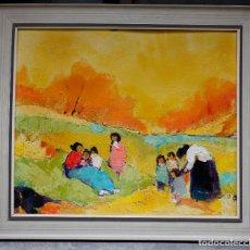 Arte: CAMPESINAS EN EL CAMPO, PINTURA AL ÓLEO SOBRE MADERA, SIN FIRMAR, CON MARCO. 53,5X45CM. Lote 188468343