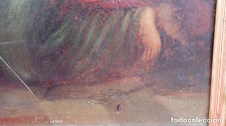 Arte: ÓLEO S/LIENZO -SANTA SUSANA-. ESCUELA BARROCA SEVILLANA, FINALES S. XVII. DIM.- 115X95 CMS - Foto 9 - 186106841