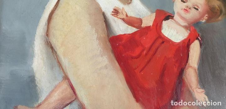 Arte: RETRATO DE NIÑA. ÓLEO SOBRE TABLA. FIRMA ILEGIBLE. 1965. - Foto 2 - 188534327