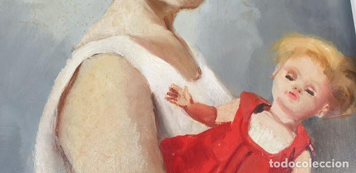 Arte: RETRATO DE NIÑA. ÓLEO SOBRE TABLA. FIRMA ILEGIBLE. 1965. - Foto 3 - 188534327