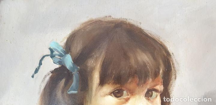 Arte: RETRATO DE NIÑA. ÓLEO SOBRE TABLA. FIRMA ILEGIBLE. 1965. - Foto 4 - 188534327