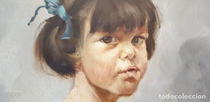 Arte: RETRATO DE NIÑA. ÓLEO SOBRE TABLA. FIRMA ILEGIBLE. 1965. - Foto 5 - 188534327