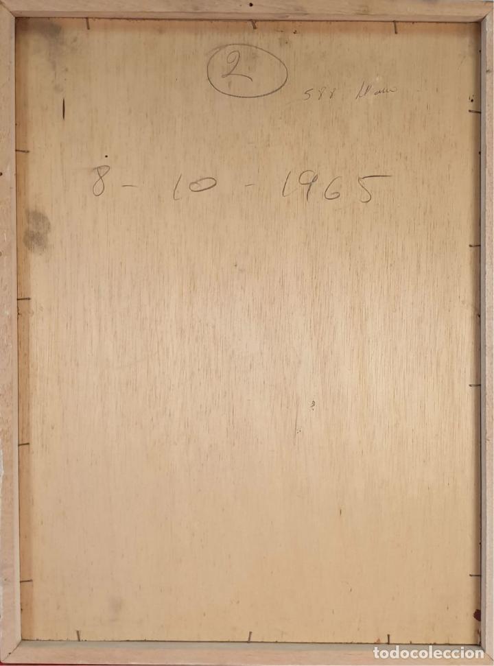Arte: RETRATO DE NIÑA. ÓLEO SOBRE TABLA. FIRMA ILEGIBLE. 1965. - Foto 7 - 188534327