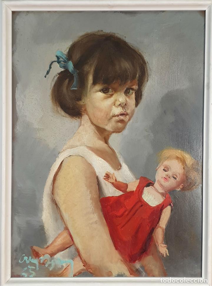 RETRATO DE NIÑA. ÓLEO SOBRE TABLA. FIRMA ILEGIBLE. 1965. (Arte - Pintura - Pintura al Óleo Contemporánea )