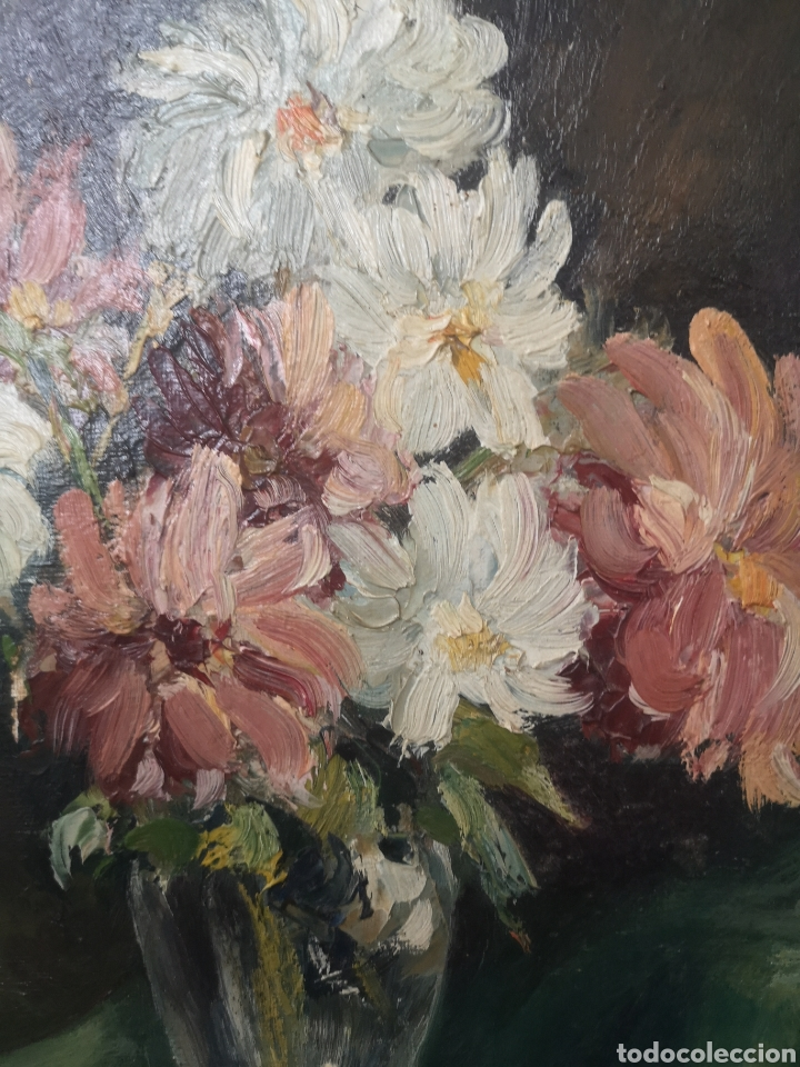 Arte: Óleo sobre tabla bodegón jarrón con flores firma ilegible enmarcado 43x51cm - Foto 2 - 188653720