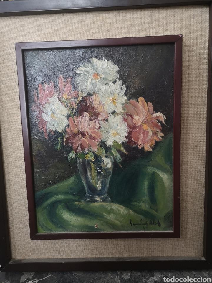ÓLEO SOBRE TABLA BODEGÓN JARRÓN CON FLORES FIRMA ILEGIBLE ENMARCADO 43X51CM (Arte - Pintura - Pintura al Óleo Contemporánea )