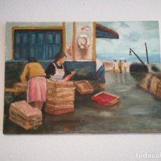 Arte: ANTIGUO CUADRO PINTURA SOBRE LIENZO MUJERES LIMPIANDO PESCADOS CON FIRMA. Lote 188662823