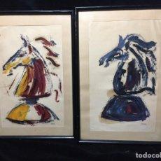 Arte: MUY INTERESANTE PAREJA DE OLEOS SOBRE PAPEL ENMARCADOS CABEZA DE CABALLO. Lote 188725583