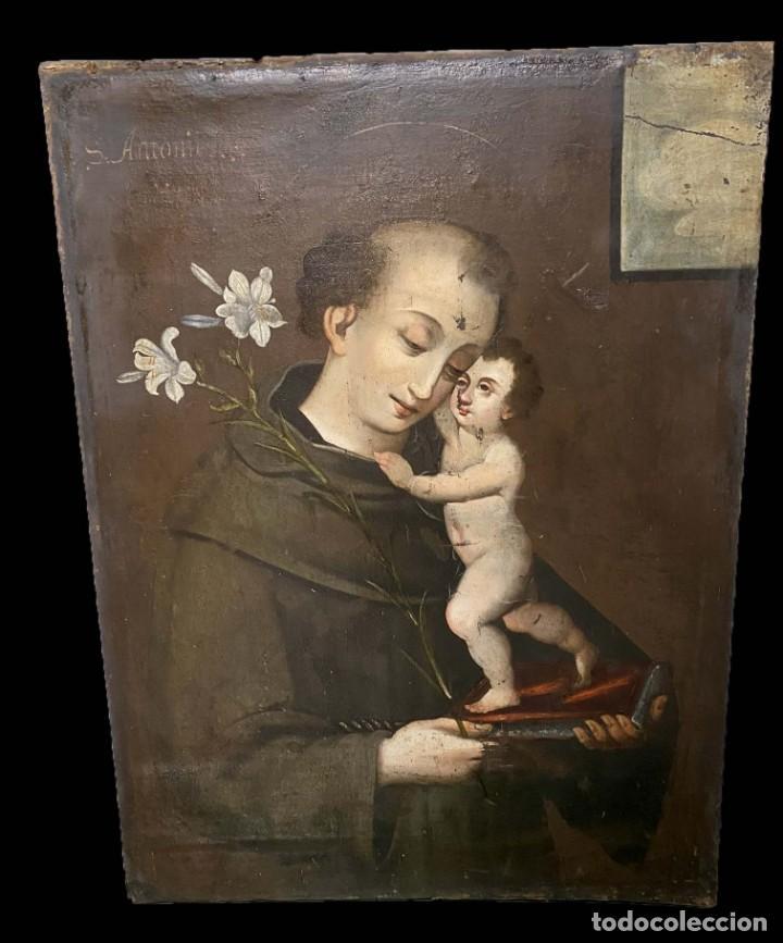 ANTIGUO ÓLEO SOBRE LIENZO DE SAN ANTONIO DE PADUA. SIGLO XVII. CÍRCULO ANDREA DEL SARTO. 95X70 (Arte - Pintura - Pintura al Óleo Antigua siglo XVII)