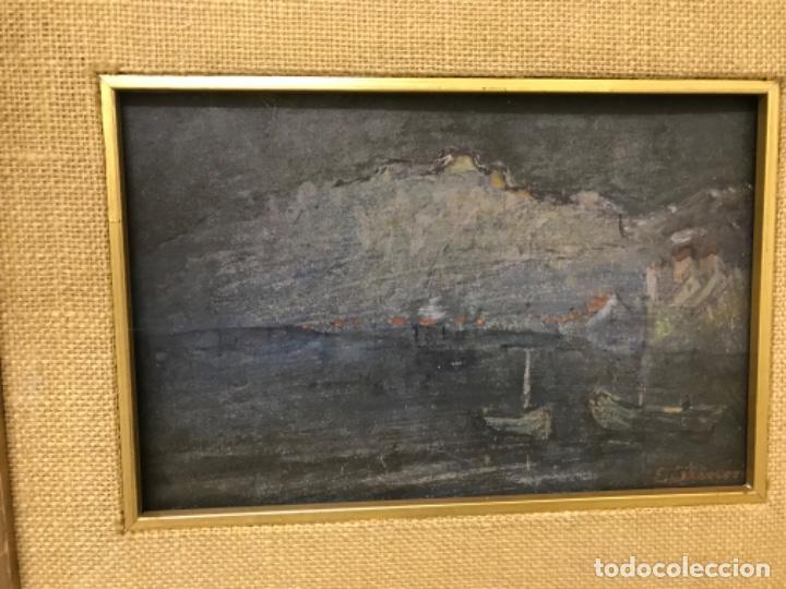 Arte: Paisaje pueblo costero oleo sobre tabla E. Echevarria marina barcos pesca pais vasco marco dorado - Foto 2 - 189136808