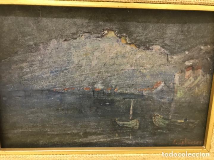 Arte: Paisaje pueblo costero oleo sobre tabla E. Echevarria marina barcos pesca pais vasco marco dorado - Foto 7 - 189136808