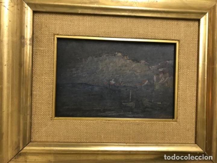 Arte: Paisaje pueblo costero oleo sobre tabla E. Echevarria marina barcos pesca pais vasco marco dorado - Foto 15 - 189136808
