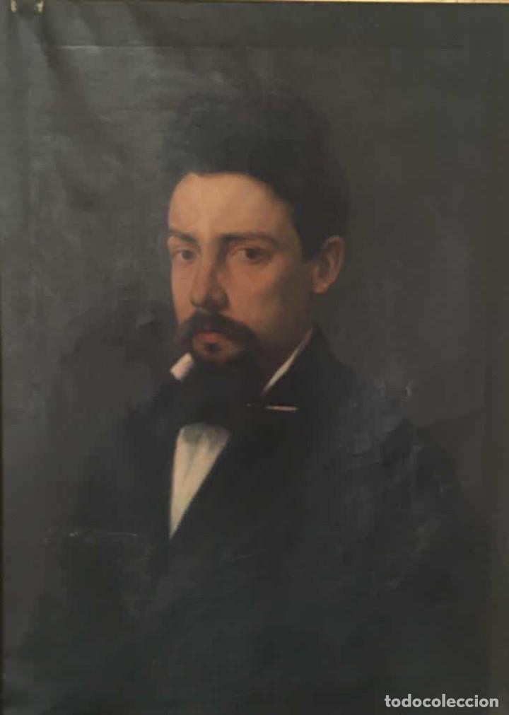 Arte: Pintura figurativa óleo con retrato masculino atribuído Ramón Martí Alsina - Foto 2 - 189143240