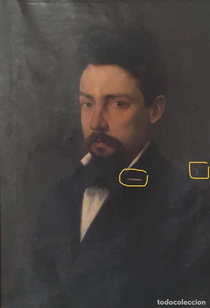 Arte: Pintura figurativa óleo con retrato masculino atribuído Ramón Martí Alsina - Foto 3 - 189143240