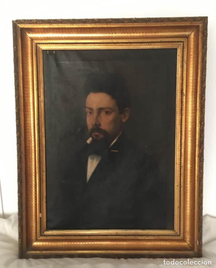 Arte: Pintura figurativa óleo con retrato masculino atribuído Ramón Martí Alsina - Foto 4 - 189143240