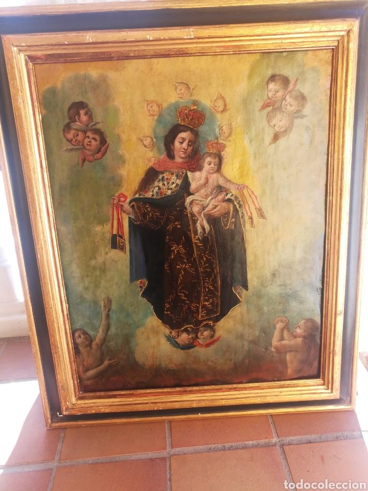 ÓLEO SOBRE COBRE.VIRGEN DEL ESCAPULARIO CON NIÑO. (Arte - Pintura - Pintura al Óleo Antigua siglo XVII)