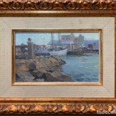 Arte: JOSE LUIS CHECA , VALENCIA , ÓLEO TABLA , VISTA DE PUERTO , . Lote 189200523