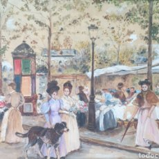 Arte: ESCENA DE GALANTEO EN PARÍS - TECNICA MIXTA.FIRMADO.. Lote 189334465
