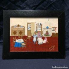 Art: ACRILICO SOBRE TABLA INTERIOR MADRE CON TRES HIJAS CHIMENEA MUEBLES COCINA ESTEVEZ 80 21X27CMS. Lote 189367076