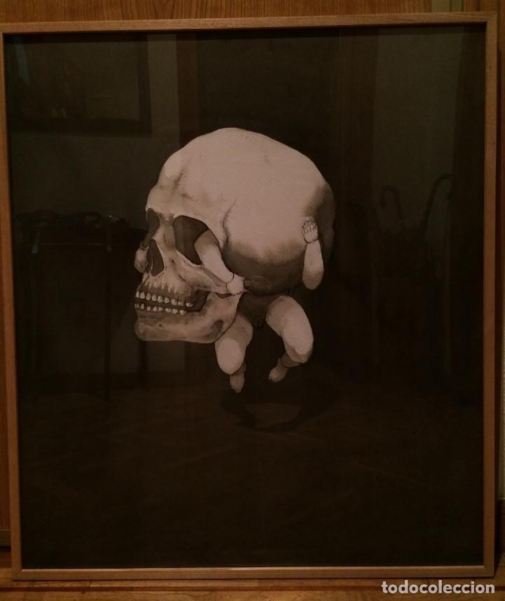 PINTURA AGUADA. VIDA Y MUERTE EN SOLEDAD. CON MARCO Y CRISTAL. 82 X 72 CM. PREMIO AIIM (Arte - Pintura Directa del Autor)