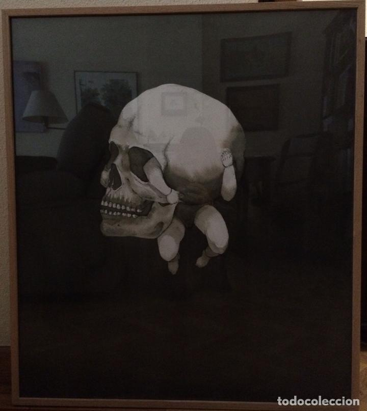 Arte: Pintura aguada. Vida y muerte en soledad. Con marco y cristal. 82 x 72 cm. Premio AIIM - Foto 2 - 189367853