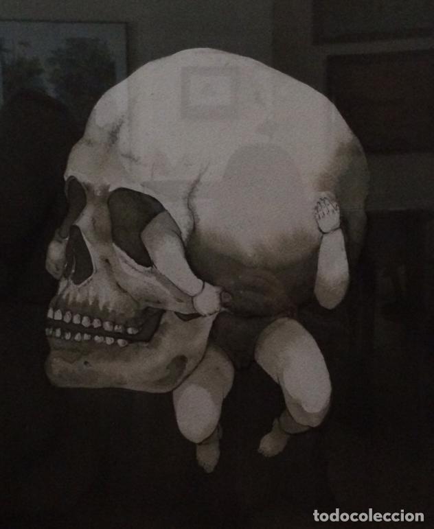 Arte: Pintura aguada. Vida y muerte en soledad. Con marco y cristal. 82 x 72 cm. Premio AIIM - Foto 3 - 189367853
