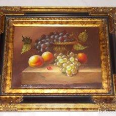 Arte: CUADRO PINTADO A MANO -BODEGON - FIRMADO - DECORATIVO - IMPECABLE CON MARCO. Lote 189389937