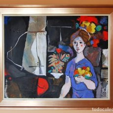Arte: MIQUEL TORNER DE SEMIR - SANTA PAU - GIRONA 1.938 MUJER CON FLORES -. Lote 189400560