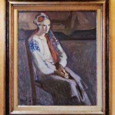Arte: RAFAEL GRIERA - LAS PALMAS 1934/ OLOT 2018- OLEO SOBRE LIENZO - MUJER SENTADA - FIRMADENMARCARCADO. Lote 189405216
