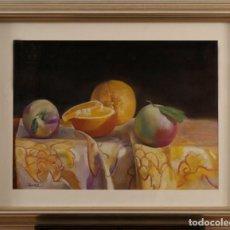 Arte: DOMINGO ALVAREZ - PASTEL ENMARCADO- TITULO: NATURALEZA MUERTA ENMARCADA. Lote 189469180
