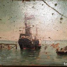 Arte: MARINA FIRMADA L A (LUIS DEL ÁGUILA) FECHADA EN 1899. Lote 189484552
