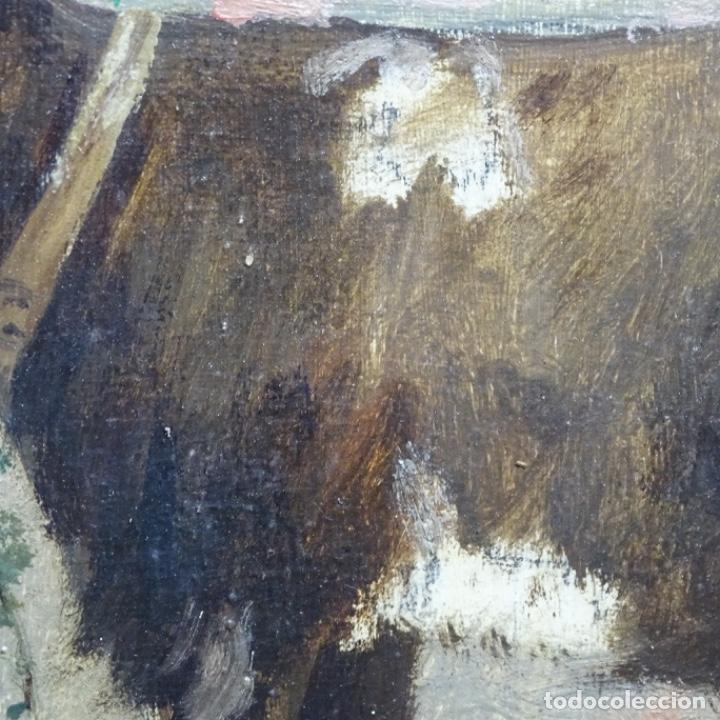Arte: Óleo anónimo sobre cartón duro del siglo xix.escuela catalana. - Foto 8 - 189521155