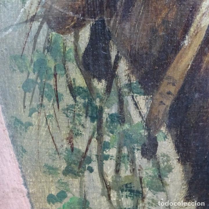 Arte: Óleo anónimo sobre cartón duro del siglo xix.escuela catalana. - Foto 9 - 189521155
