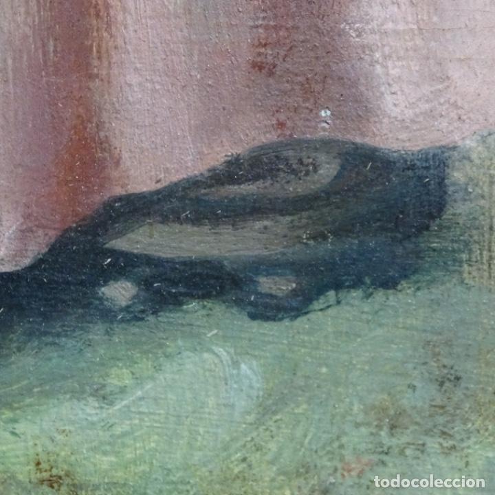 Arte: Óleo anónimo sobre cartón duro del siglo xix.escuela catalana. - Foto 13 - 189521155